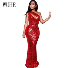 купить WUHE Sleeveless New Fashion Sequin Dress Sexy One Shoulder Cut Out Bodycon Maxi Dress Ladies Party Dresses Red Sequined Vestidos дешево