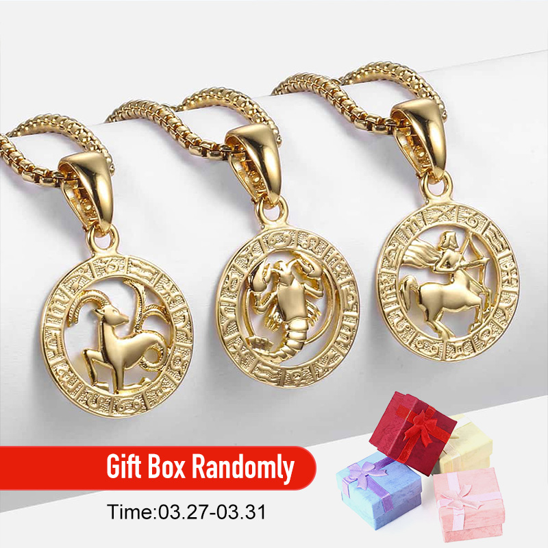 Image 2 - Mens Womens 12 Horoscope Zodiac Sign Gold Pendant Necklace  Aries Leo Wholesale Dropshipping 12 Constellations Jewelry GPM24Pendant  Necklaces