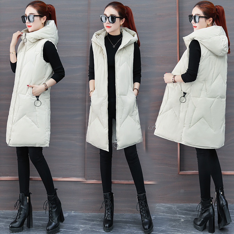 Down Feather Cotton Vest Mid-length Korean-style 2018 New Style Autumn And Winter Hooded Vest Women's Winter Waistcoat Coat