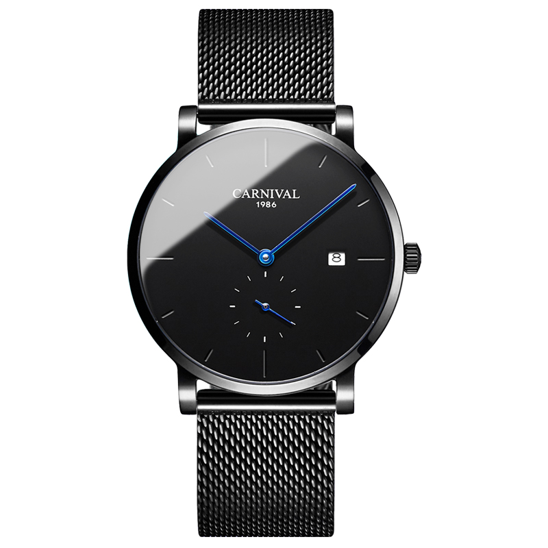 Carnival Men Automatic Watch Black Mesh Band Brief Ultra Thin Small Seconds Dial Luxury Mechanical Watch Simple Business Watch - 2