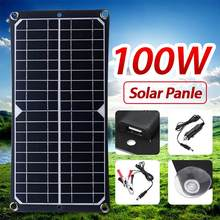 Charger Solar-Panel-Kit Usb-Power-Bank Complete Car Camping 100W Boat Monocrystalline