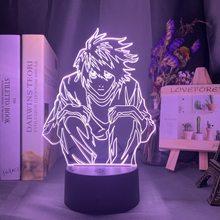 Фигурка манга «тетрадь смерти», светодиодный ночник Lawliet для аниме, комнатный магазин, декоративная идея, крутая настольная лампа для детск...