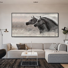 MUTU Gray Two Running Horses Canvas Painting Animal Pictures For Living Room Wall Art Prints Modern Home Decoration No Frame(China)