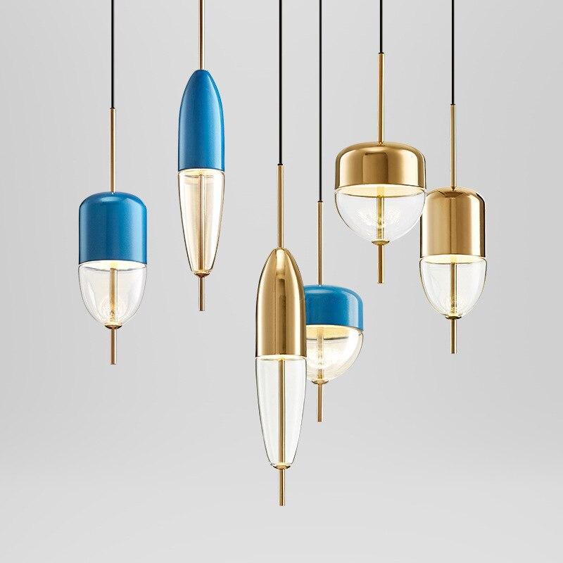 Post moderne goldene blau wasser tropfen glas mode designer schlafzimmer esszimmer Kronleuchter-in Pendelleuchten aus Licht & Beleuchtung bei title=