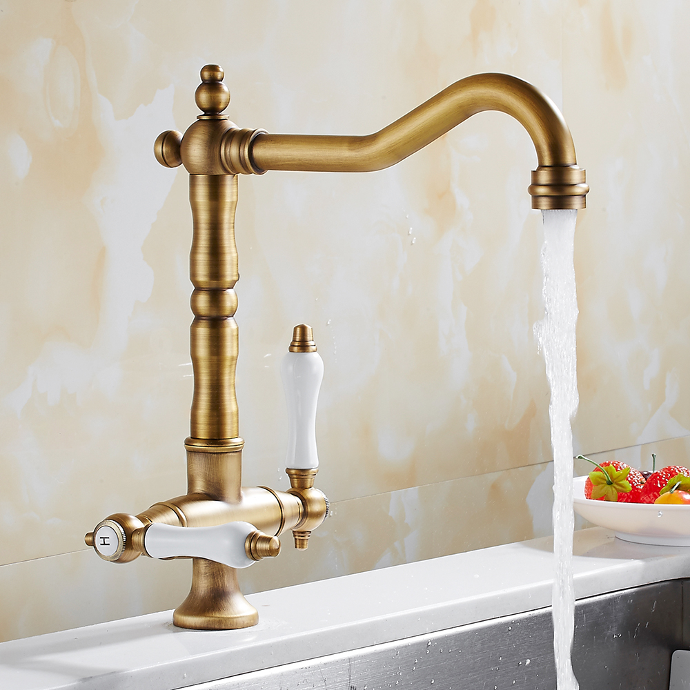 EVERSO 360 Swivel Antique Brass Kitchen Faucets Dual Porcelain Handle Mixer Tap Kitchen Cold And Hot Mixer Taps