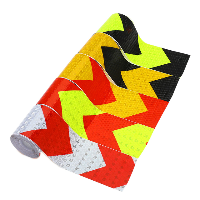 5cm*3m Self Adhesive Warning Tape Arrow Safety Mark Reflective Tape Stickers Car-styling Automobiles Motorcycle Reflective Film
