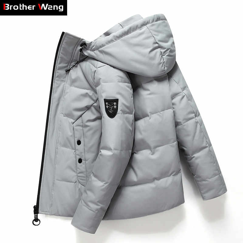 2019 Winter New Men's Hooded Down Jacket Fashion Casual Thicken Warm White Duck Down Parka and Coats Male Brand Clothing
