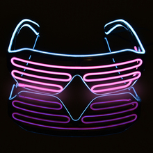 led light cosplay scary series mask rave costume lights neon led bright chrstimas blink mask nighttime glow in dark party decor Standard Style Two-Color EL Flash Glasses DJ Bright Glasses EL Wire Fashion Neon LED Light     Glow Rave Costume Party Blinds Gl