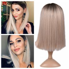 Wignee 2 Tone Ombre Brown Ash Blonde Synthetic Wig for Women Middle Part Short Straight Hair High Temperature Cosplay Hair Wigs