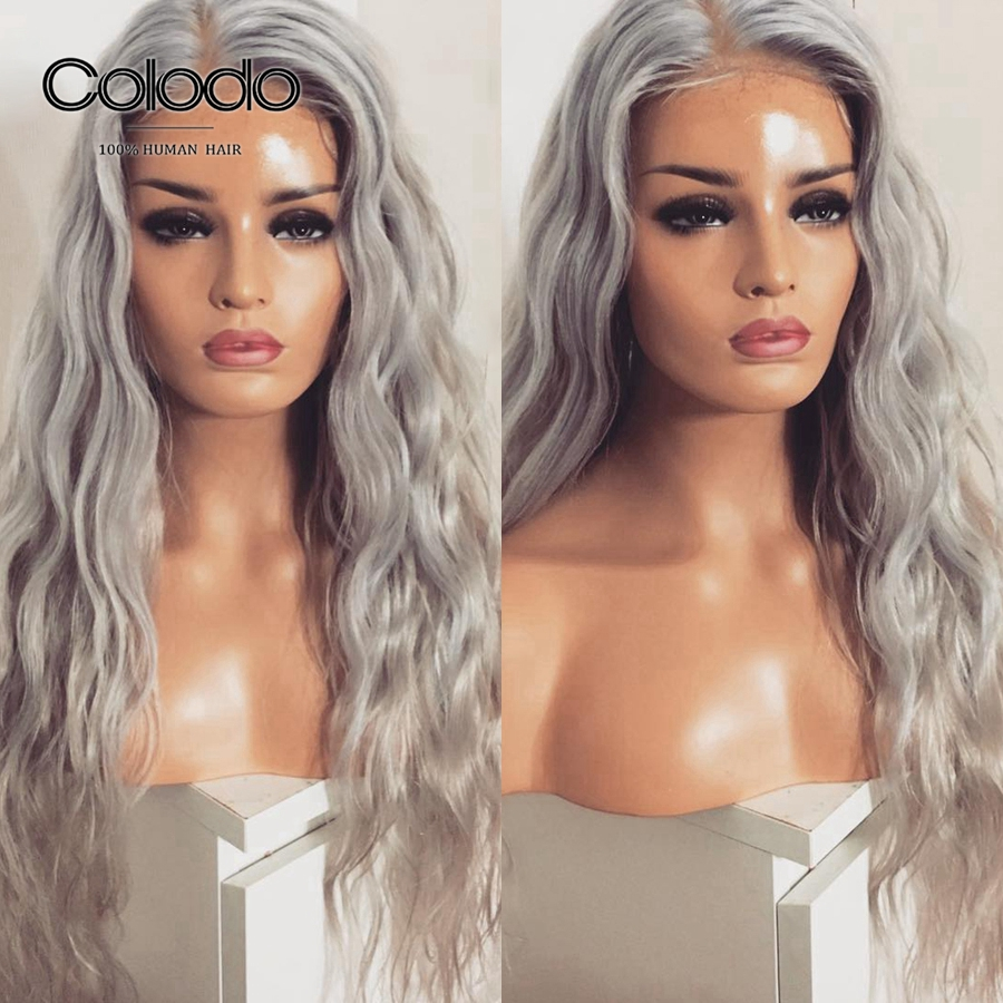 COLODO Grey Color Human Hair Wigs 130/150 Loose Wave Lace Front Human Hair Wigs Remy Brazilian 13X4 Ombre Transparent Lace Wig