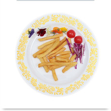 Disposable Tableware Gold Stamping Plastic Dinner Plate Round PS Plastic Party Plate