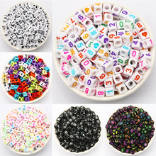 Spacer-Beads Jewelry Square Acrylic Handmade Heart-Shape Colorful Number for DIY Making