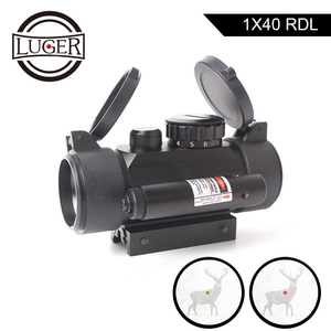 LUGER 1x40 Red Green Mid Dot Illumination Hunting Scope Red Dot Laser Sight Scope Outdoor Airgun Shooting Optic Sight Riflescope