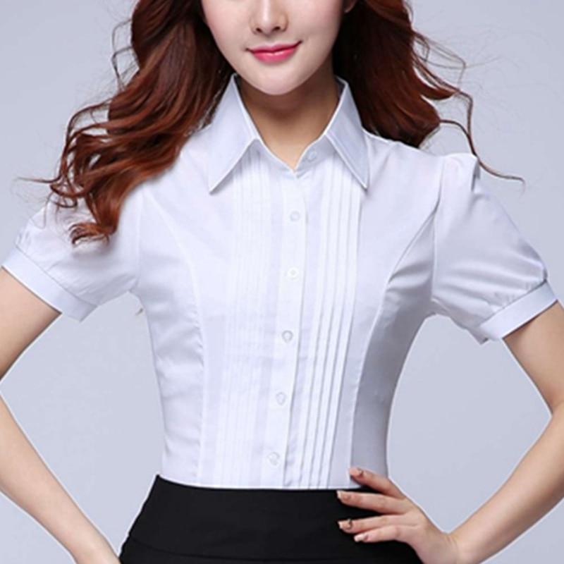 Korean Fashion Women Shirts Office Lady Cotton Blouse Blusas Mujer De Moda 2019 Women Blouses Elegant Women Shirt Plus Size 5XL