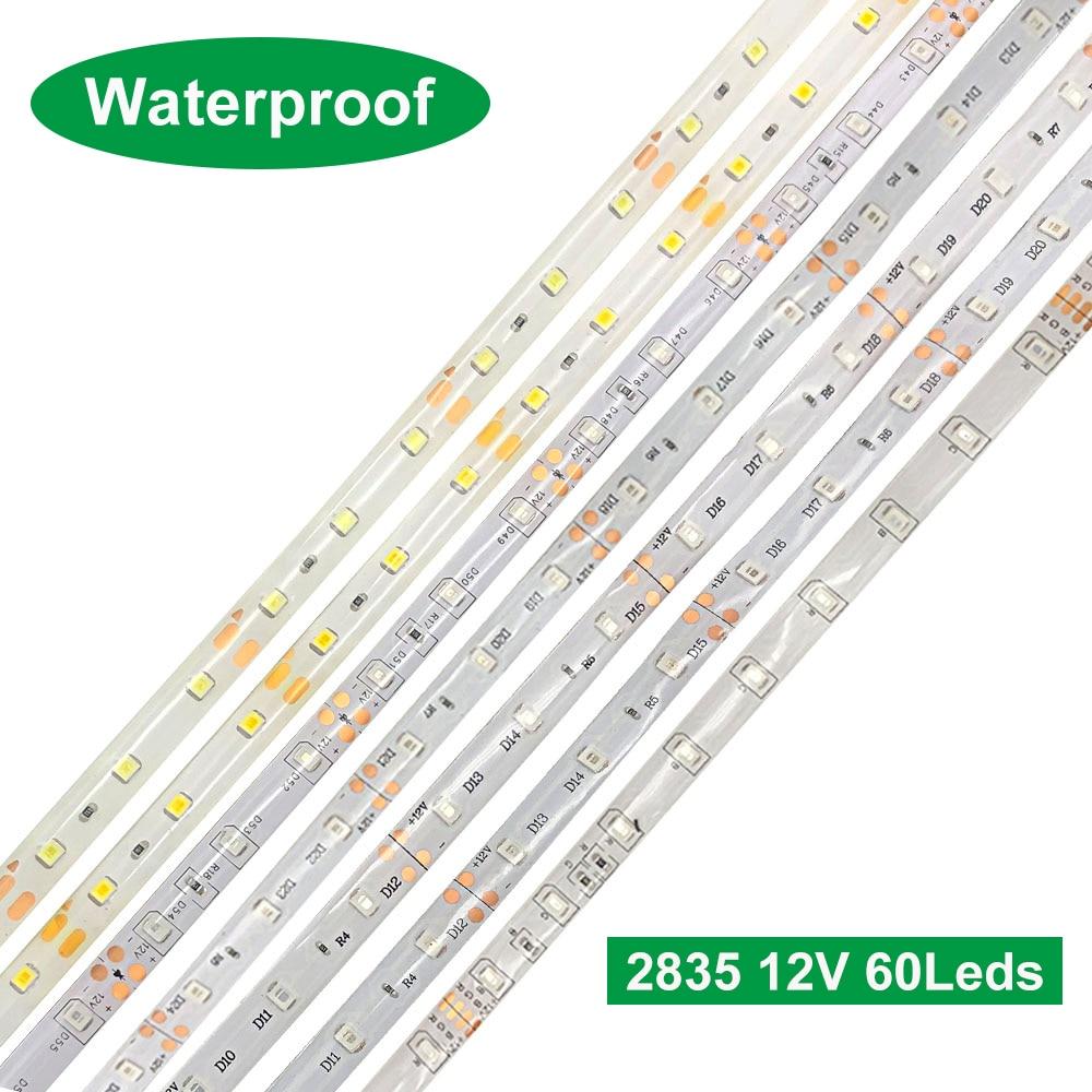 DC 12V Led Light Tape 2835 RGB 1-5m 60LEDs Led Light Strip Flexible TV Backlight 2835 Led Strip Waterproof 12V Led Strip