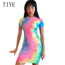 TIYE New Arrival Tie Dyeing O-neck Short Sleeve Retro Dress Hollow Out Women Summer Bodycon Beach Ladies Casual Dresses