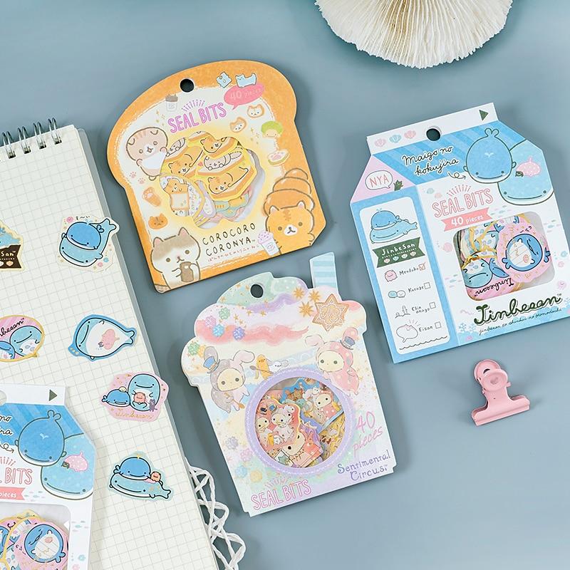 40pcs/pack Blue Whale Bread Cats Decor Stickers Album Hand Account Decor