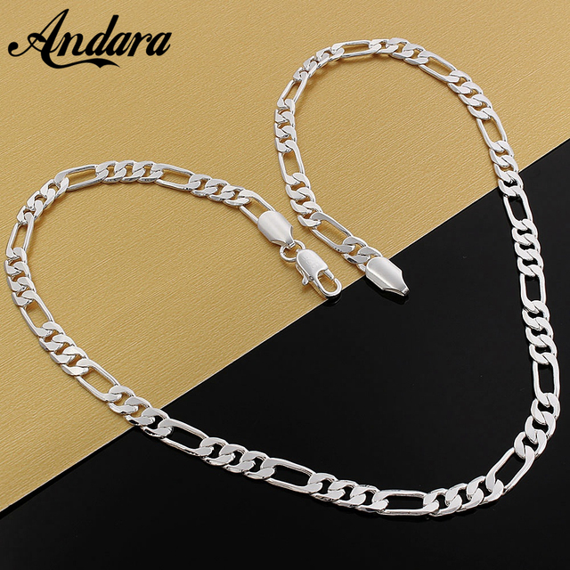 925 Silver Necklace Three Rooms One Ferrero Necklace Silver Chain Men&Women Silver Necklace Fashion Classic Jewelry 4MM 1
