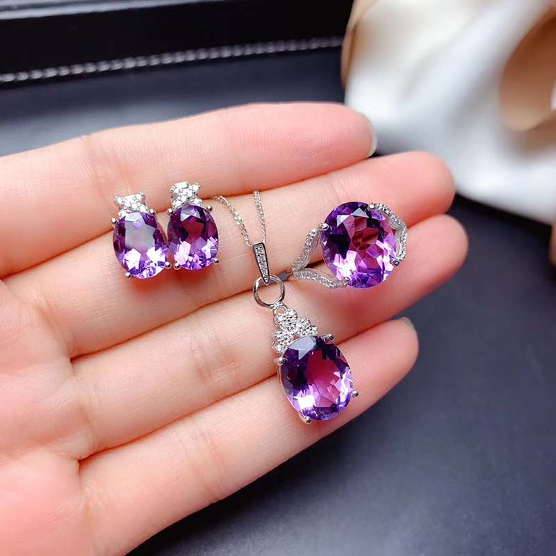 Oval Faceted Natural Amethyst Jewelry Sets for Women Party Necklace Earrings and Ring Fine Jewelry Gifts Top Quality S925 Sliver