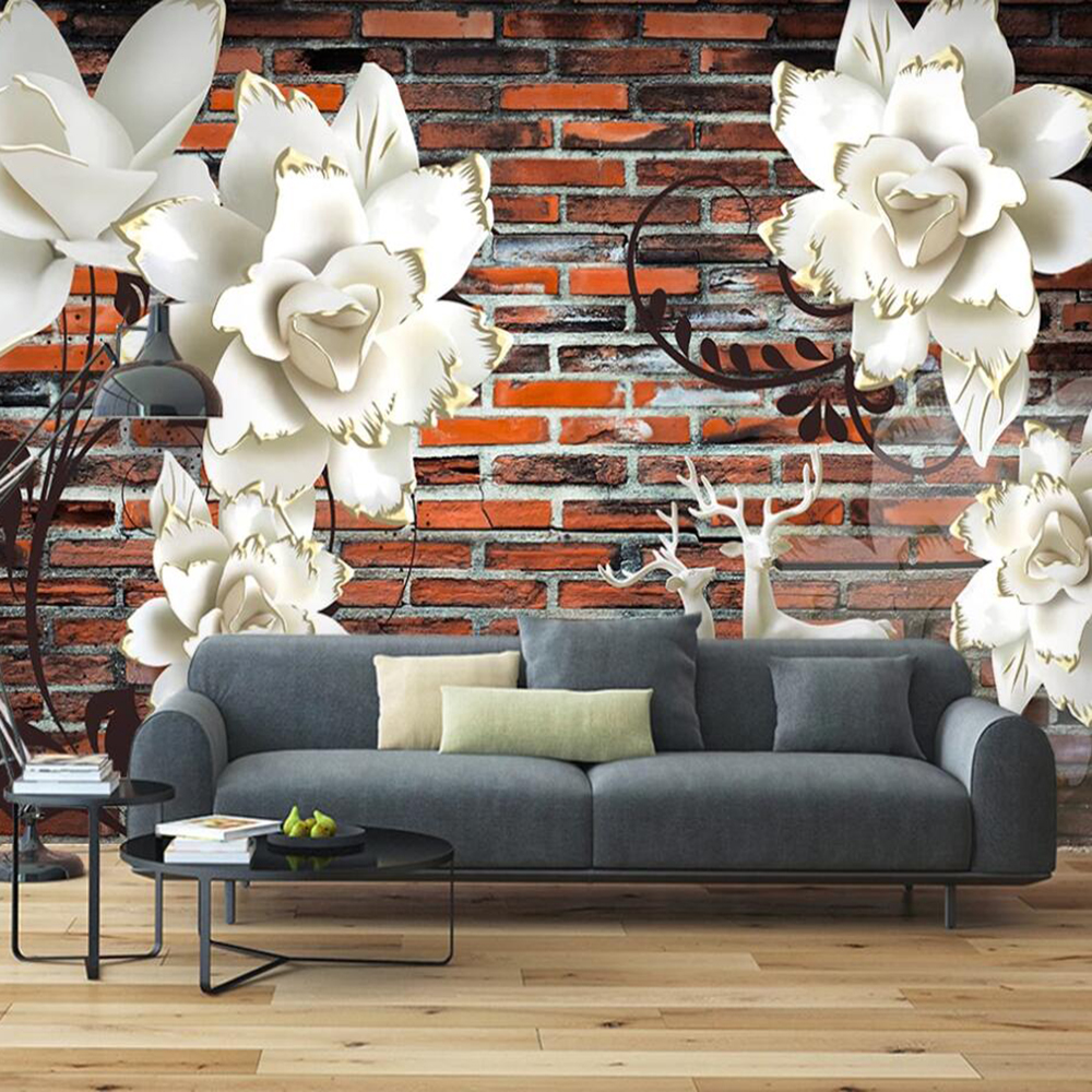 Drop Shipping Custom 3D Wallpaper Mural Stereo Flower Embossed Red Brick Living Room Bedroom Wall Decoration Wallpaper Mural
