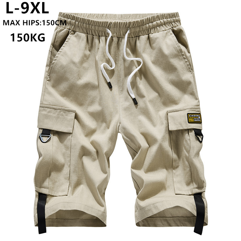 Summer Shorts Men Cargo Brand Short Bermuda Hombre 6XL 7XL 8XL 9XL Mens Corto Hip Hop Hiphop Boys Cotton Casual Teenagers Ropa