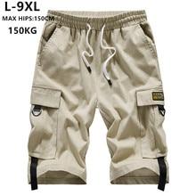 Летние мужские шорты-карго, брендовые шорты-бермуды, 6XL 7XL 8XL 9XL, мужские повседневные хлопковые хип-хоп шорты для подростков