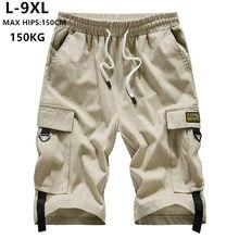 Pantalones cortos de algodón para Hombre, Bermudas cortas de marca, estilo Hip Hop, Hip Hop, informal, para adolescentes, 6XL, 7XL, 8XL, 9XL, de verano