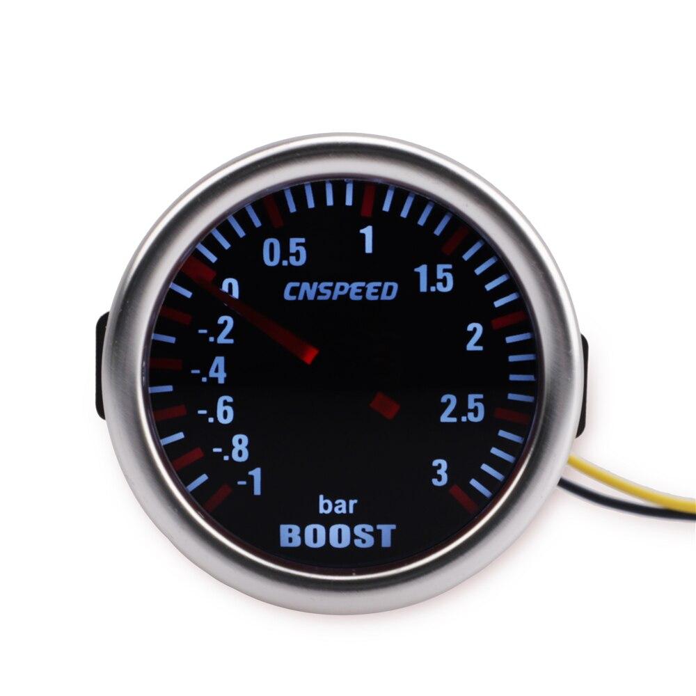 CNSPEED Universal 12V Auto Turbo Boost Gauge-1 ~ 0 ~ 3 BAR 2