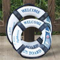 50cm Mediterranean Style Home Decoration Welcome Wall Ornament Life Buoy Foam Aboard Nautical Lifebuoy Ring Boat Wall Hanging