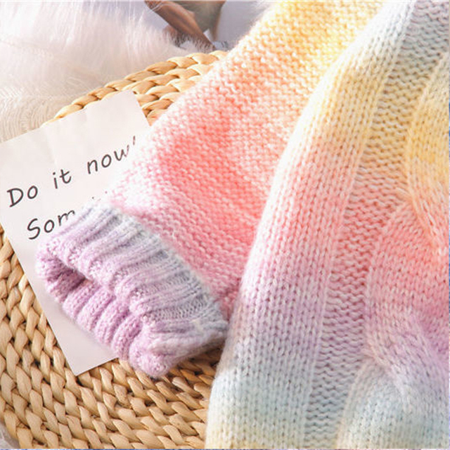 Autumn Winter Women Rainbow Sweaters Tie Dye Pullover O-Neck Long Loose Striped Korean Jumpers Candy Color Oversized Female Tops 5