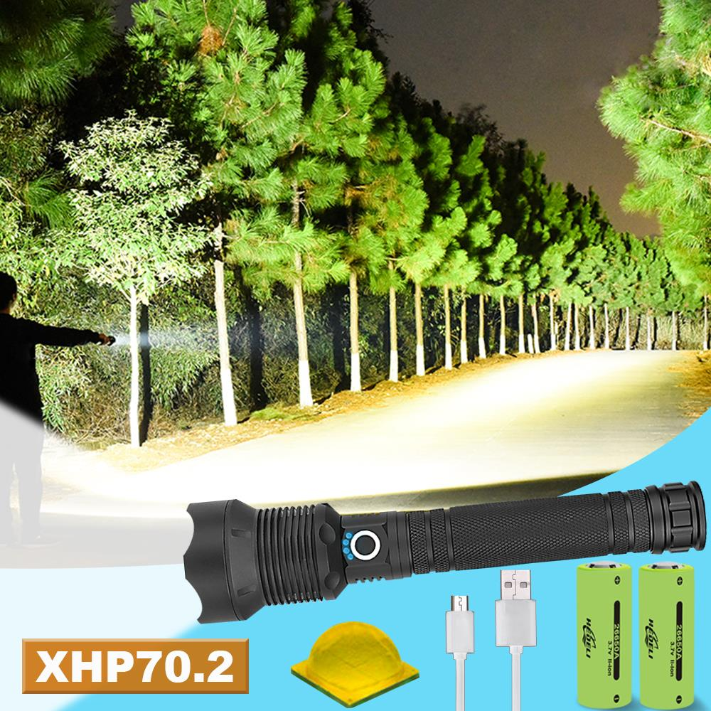 100000 Lumens XLamp Xhp70.2 Powerful Led Flashlight Zoom Led Torch Xhp70 Xhp50 18650  26650 Usb Rechargeable Battery Waterproof