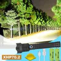 Super lumen XLamp xhp70.2 potente ha condotto la torcia elettrica Dello Zoom ha condotto la torcia xhp70 xhp50 18650 26650 usb batteria Ricaricabile impermeabile