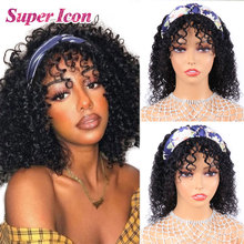 Wigs Bangs Human-Hair Kinky Curly Black Full-Machine Fashion Women Brazilian Cheap