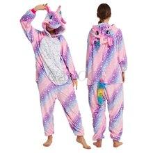 Kigurumi Women Unicorn Onesies Costumes Unisex Winter Panda Jumpsuit Kids Nightwear Anime  Adults Flannel Sleepwear Men Pajamas