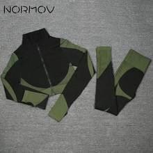 NORMOV Frauen 2 PCS Yoga Set Zipper Fitness Gym Set Hohe Taille Leggings + Langarm Shirts Workout Set Sport anzüge Heißer