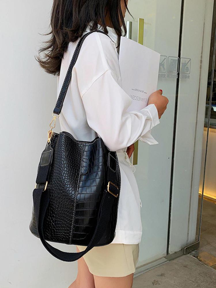 Crossbody-Bag Bucket-Bag Patchwork Crocodile-Design Ansloth Women Ladies Female PU HPS586