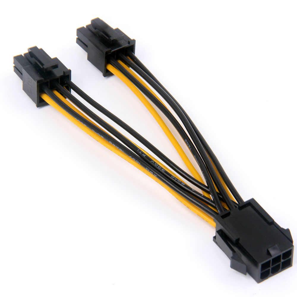 GPU 6 pinli PCI Express 2 x PCIe 6-pin anakart ekran kartı PCI-e GPU VGA splitter hub güç kablosu
