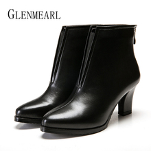 Women Ankle Boots Winter Shoes Female Thick Heels Women  Boots Female Shoes Zip Pointed Toe Plush Casual Shoes Plus Size 2019 Ne zvq genuine leather lady plush green ankle boots pointed toe thick 3cm heels 2018 popular elegant concise large size women shoes