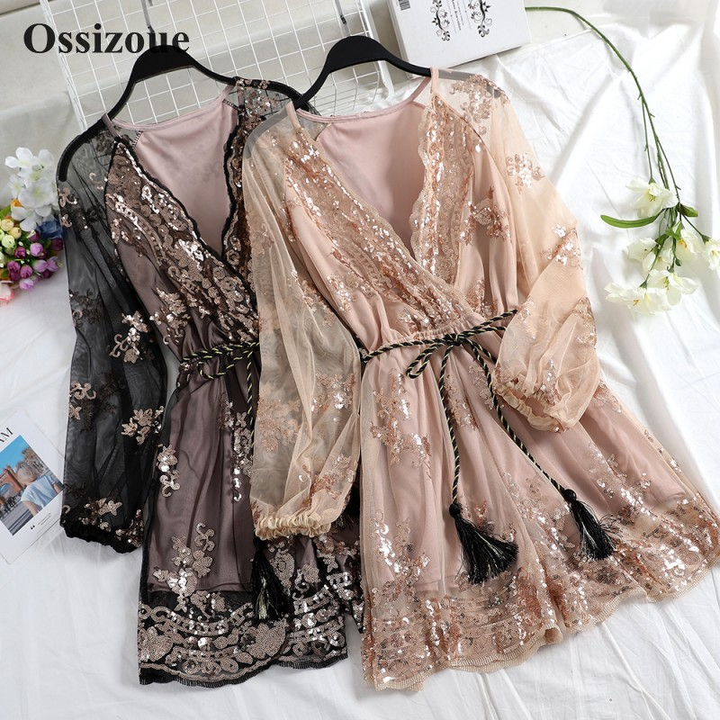 New Fashion Long Sleeves Cocktail Dress V Neck Bling Bling Sequins Homecoming Party Dresses For Special Occasions ESAN433