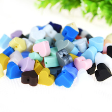 Happyfriends 50pcs Mini Heart Silicone Beads for Baby Teether Toys Bracelet Necklace Pacifier Clip Jewelry Making
