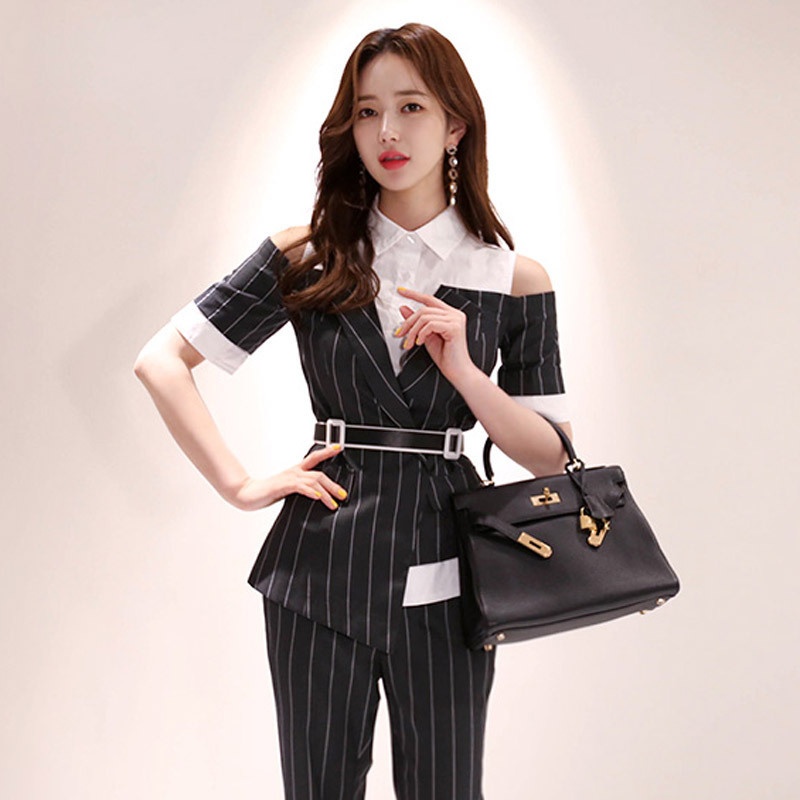 7498 # New Style Two-Piece 2019 Summer Wear Korean-style Slim Fit Joint Striped Shirt-Style WOMEN'S Pants Business Suit