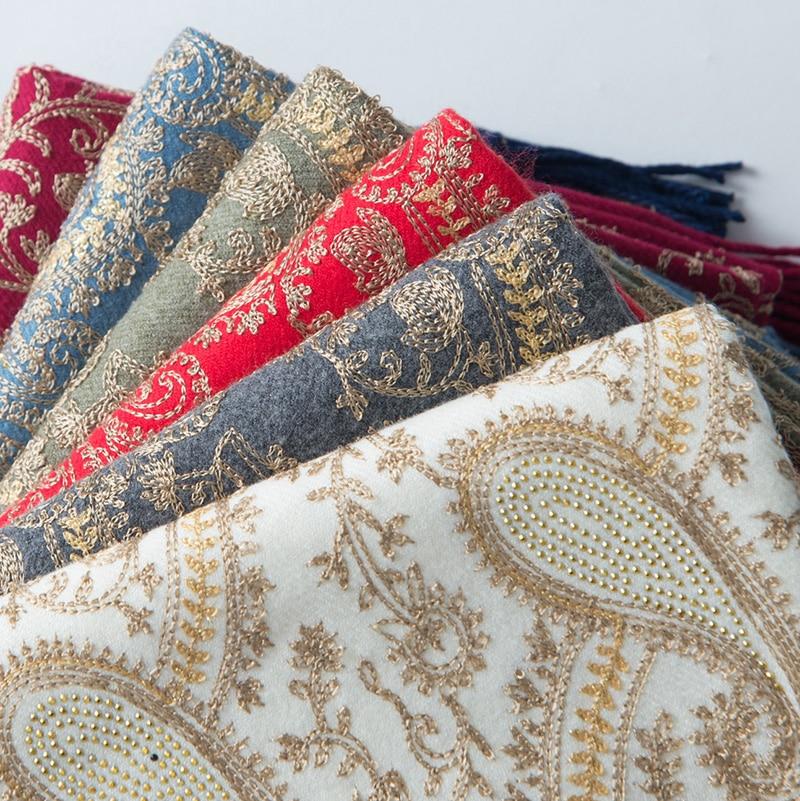 Hot Drilling Poncho Head Scarves Women Elegant Scarf And Warm Shawl Long Embroidery Stoles Bandana Scarf Hijab Luxury Brand