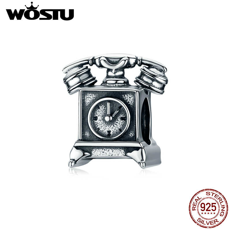 WOSTU Genuine 925 Sterling Silver Retro Telephone Charms Beads Fit Original Bracelet Pendant For Women Party Jewelry Gift CTC156