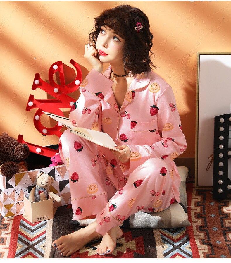 [Htc Sheng] Spring And Autumn Lemon Strawberry Cardigan Pajamas Suit M -Xxl
