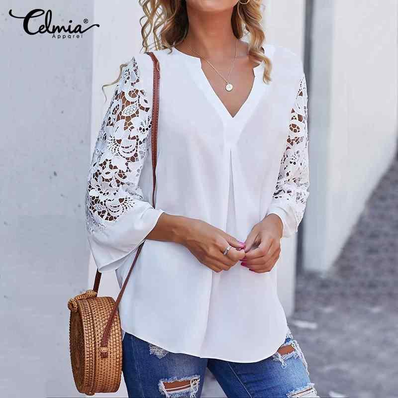 ผู้หญิงเสื้อสีขาวฤดูร้อน Celmia V คอเสื้อลูกไม้ 3/4 แขน SEXY Hollow OUT เสื้อ Casual หลวม Solid Office blusas S-5XL