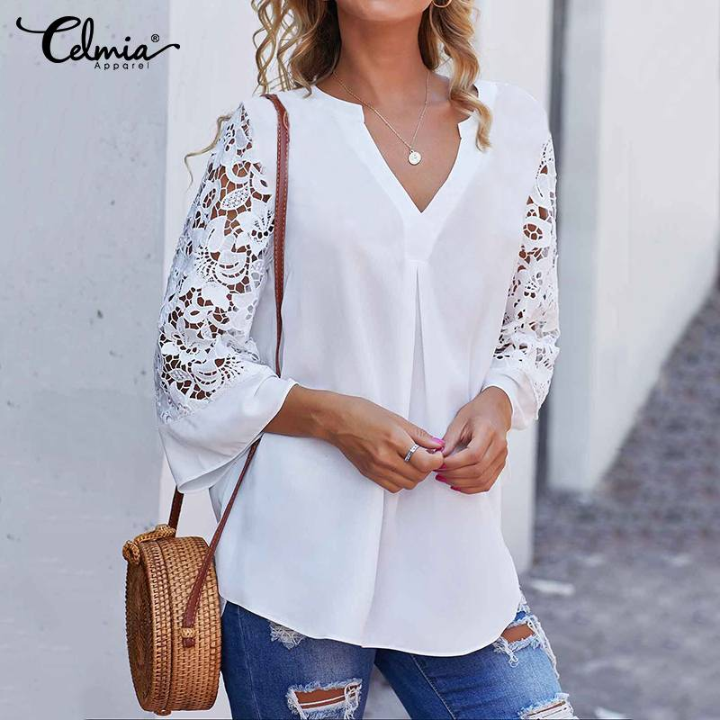 Women White Blouse Celmia Summer V Neck Lace Shirts 3/4 Sleeve Sexy Hollow Out Tunic Tops Casual Loose Solid Office Blusas S-5XL