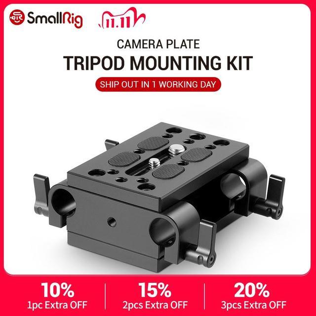 Plaque de montage de monopode de trépied de plaque de montage de caméra de petite Plate forme avec le rail de bride de tige de 15mm pour le Support de tige/Cage de Plate forme de Dslr 1798