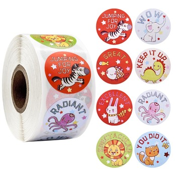 500Pcs Cartoon Animal Cute Stickers with 'Wow Great Excellent' Word Reward Sticker for School Teacher Student Stationery Sticker 500pcs cartoon cute animals reward stickers teacher motivational kids sticker school student encouragement stationery sticker