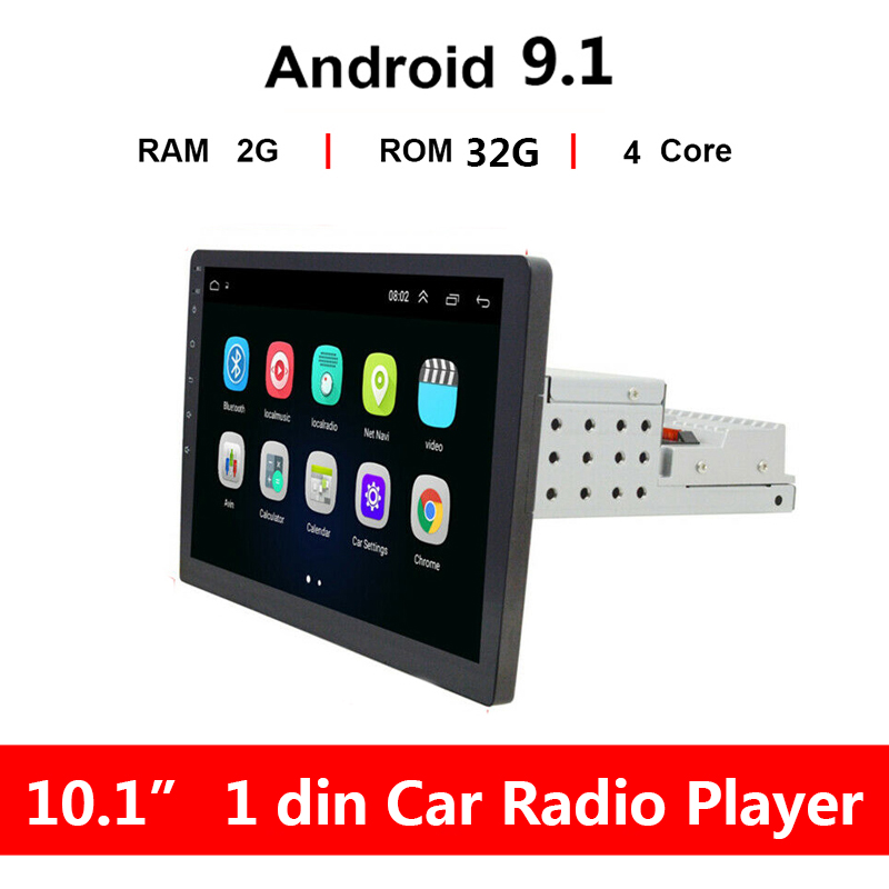 "10.1/"" 1Din Android 9.1 Quad-Core 2GB//32GB Adjustable Car Stereo Radio GPS Wifi"