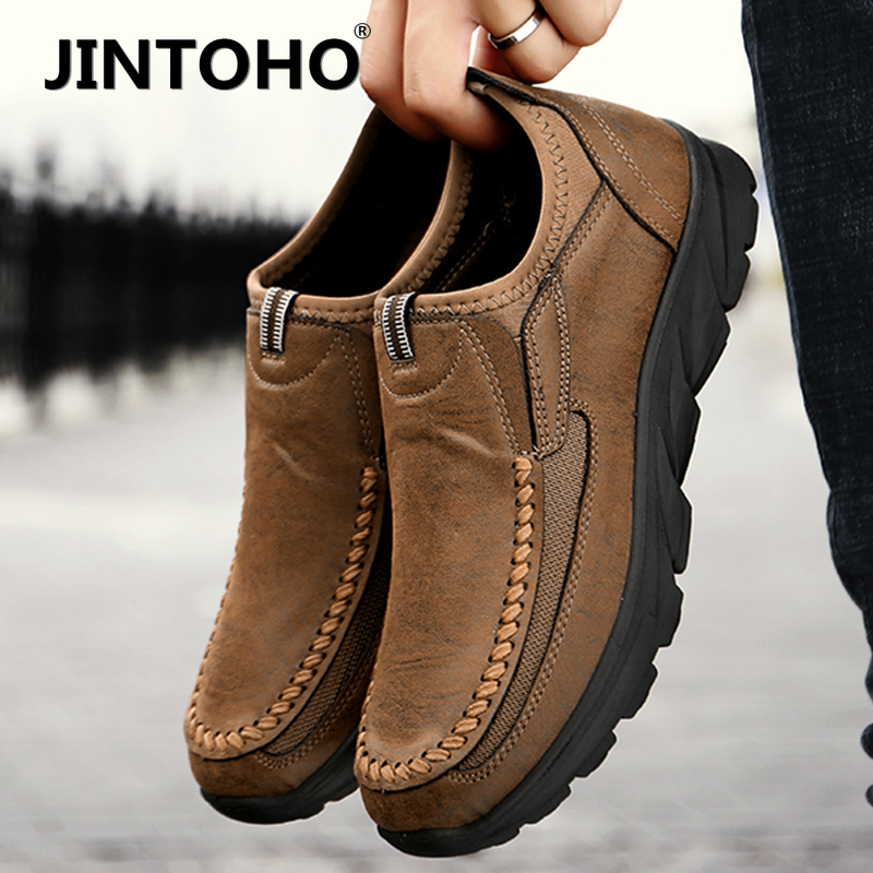 JINTOHO Men Casual Shoes Loafers Sneakers New Fashion Handmade Retro Leisure Loafers Shoes Men Shoes 39-46